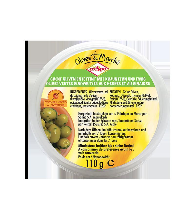 Olives vertes dénoyautées herbes et vinaigre