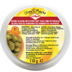 OLIVES VERTES DENOYAUTEES CHILI-PEPPERS